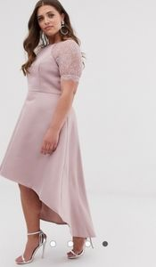 Chi Chi London Plus High Low Midi Lace Dress